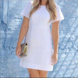 J. Crew flutter- sleeve dress in white eyelet for sale